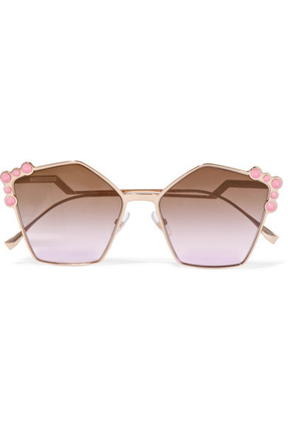 fcc513b400 Fendi Fendi - Studded Square-frame Rose Gold-tone Sunglasses - Pink