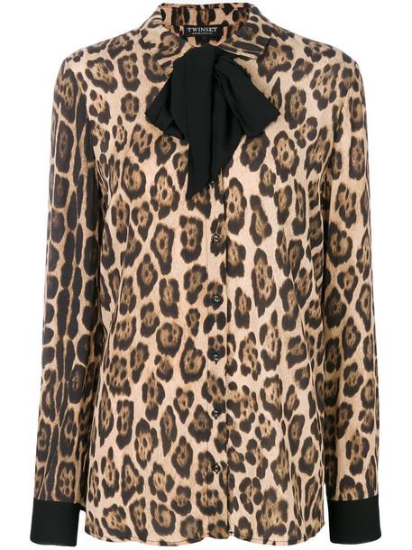 blouse women print brown leopard print top