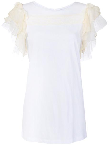 t-shirt shirt t-shirt women pearl white cotton silk top