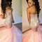 Sweetheart pink tulle sequin long mermaid prom dress, evening dress - 24prom