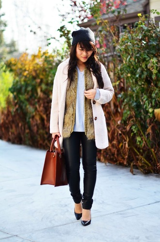 daily disguise coat sweater pants hat bag