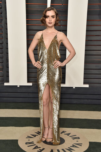 dress gold lily collins sandals metallic gold dress oscars 2016 gown prom dress prom gown slit dress sequin dress gold sequins sequin prom dress