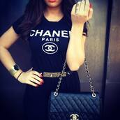t-shirt,chanel,belt,bag,shirt,chanel t-shirt,black t-shirt,top,black chanel shirt