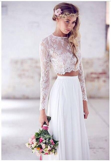 2015 Summer Two Piece Wedding Dresses A Line Long Sleeve Lace Wedding Dresses Chiffon Beach Wedding Gowns Cheap Bridal Dress China Online with $130.88/Piece on Wheretoget's Store | DHgate.com