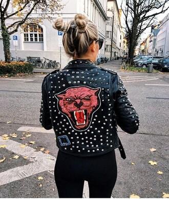jacket tiger studs studded jacket black jacket leather jacket black leather jacket animal face print tiger face