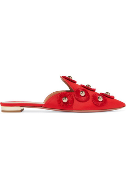 Aquazzura embellished sunflower slippers red shoes