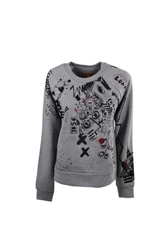 sweatshirt print grey sweater