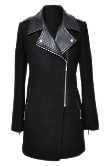 ROMWE | Romwe Panel Faux Leather Black Woolen Coat, The Latest Street Fashion