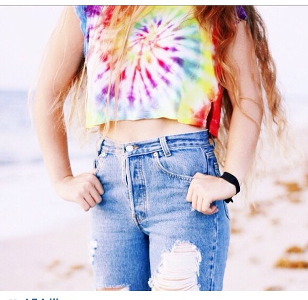 tie dye crop top 70er jahre rainbow hippy tumblr hipster 90er jahre brandy melville. Black Bedroom Furniture Sets. Home Design Ideas