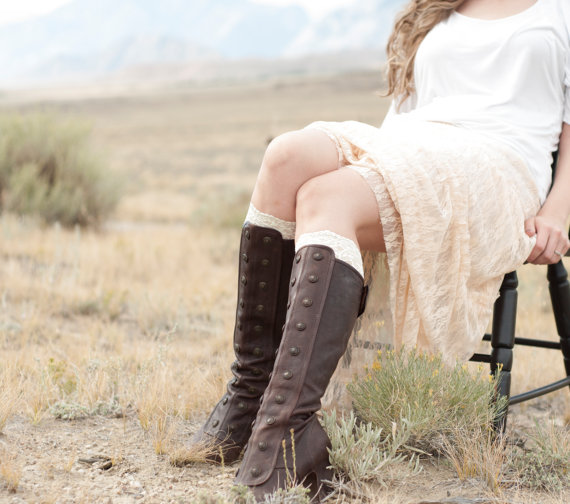 Ivory Lace Boot Cuff Socks Topper Off White Women Faux Leg Warmers Knee High Accessory Shoe Bridal