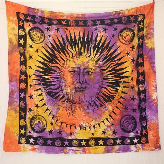 Sun Wall Tapestry, Big Tie Dye Sun moon Tapestries, Celestial Tapestry, sun Wall Hanging, Yoga Wall decor, Bohemian Tapestry Wall Decor art