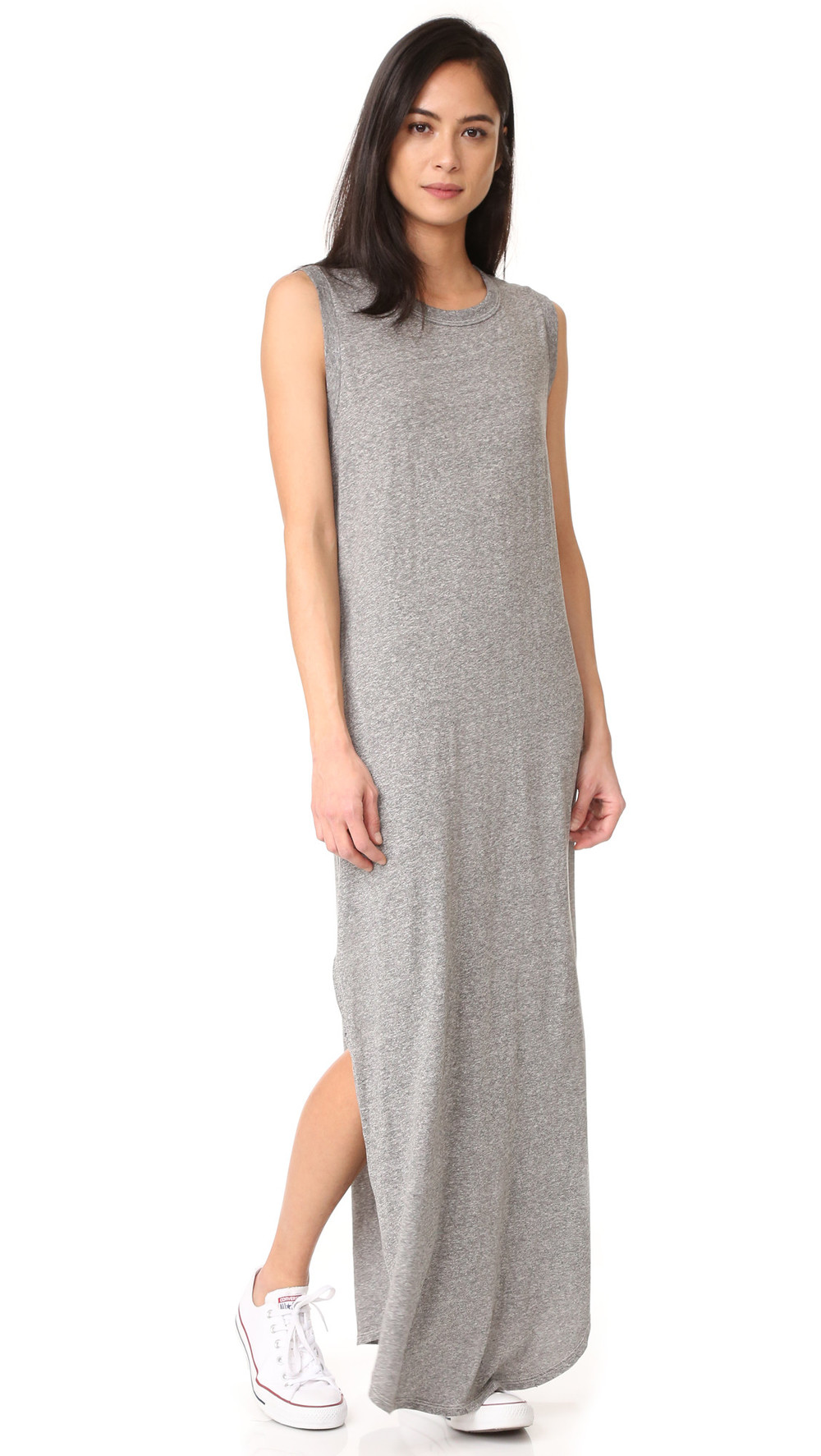 THE GREAT. The Great. The Sleeveless Knotted Tee Dress - Heather Grey