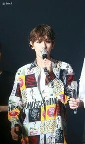 jacket,kpop,baekhyun,oversized,print,shirt,mixed prints,colorful