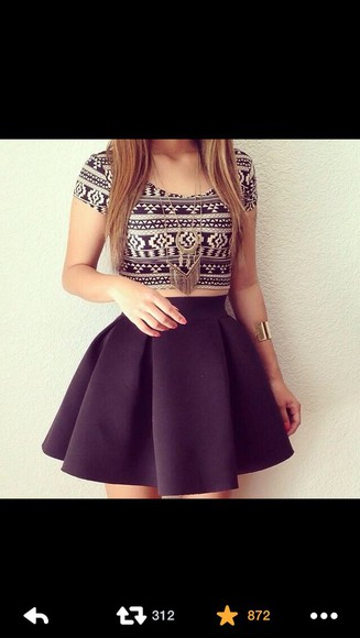 black black skirt tribal crop top white black and white crop tops black and white?