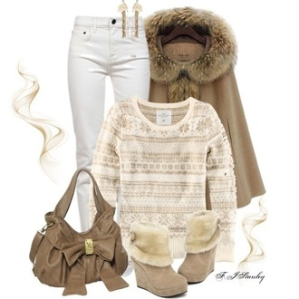 sweater snowflake beige tan winter outfits fall outfits long sleeves