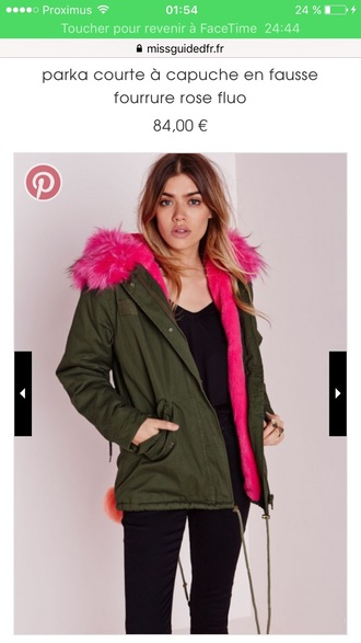 coat winter outfits fushia fourrure faux fur parka khaki