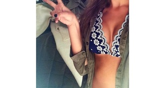 swimwear bikini flowers blue swimwear