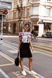 the fashion fraction,blogger,t-shirt,skirt,bag,shoes,sunglasses,jewels,sneakers,black skirt,summer outfits,90s style,90s grunge,grunge,grunge accessory,sunnies,glasses,accessories,Accessory,top,tumblr,off the shoulder,off the shoulder top,midi skirt,white sneakers,low top sneakers,white sunglasses