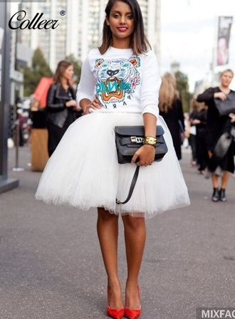skirt white tulle skirt fashion style puffy girly classy musheng