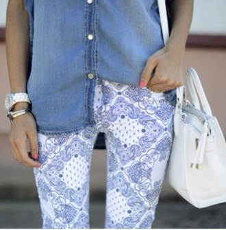 pants leggings jewels girly blue skirt jeans white purse printed pants summer shoes style fashion