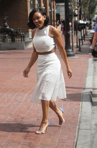 skirt eyelet skirt midi skirt white skirt mesh skirt sandals blue sandals crop tops white crop tops summer outfits summer top curvy