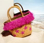 bag,kayu,mytheresa,beach,designer beach bag,straw bag,straw beach bag,pink bag,stars,summer,summer outfits,handbag