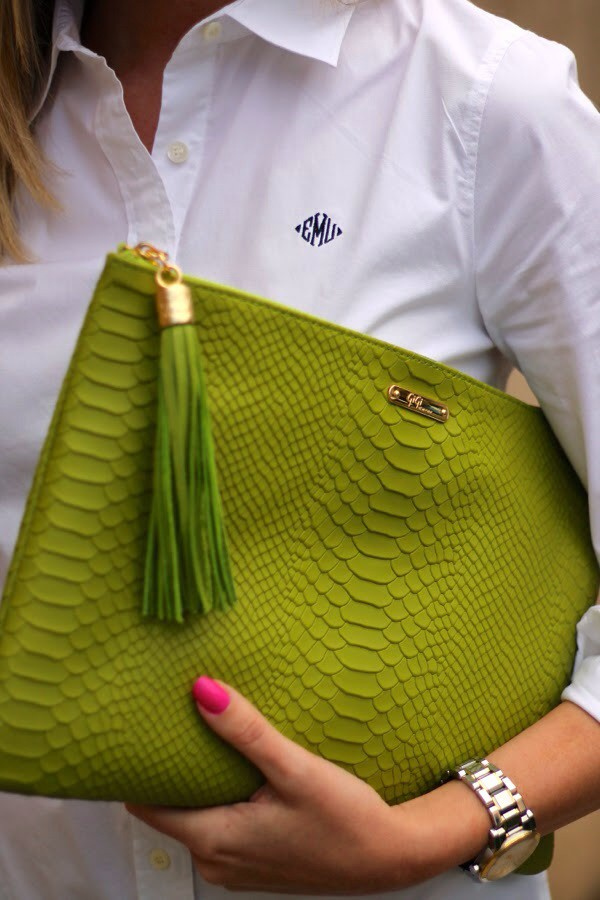 bag green preppy prep 2014 croc clutch