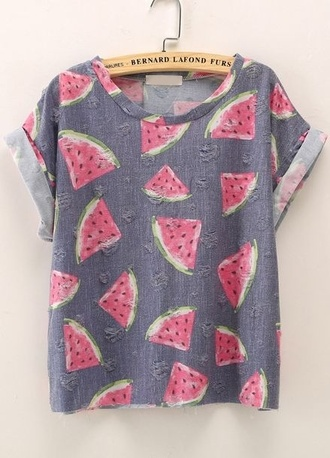 t-shirt tee watermelon print print fullprint hipster grey sleeves shirt watermelon shirt grey t-shirt cuffed sleeves vintage sweet girly cute meloen graphic tee printed t-shirt