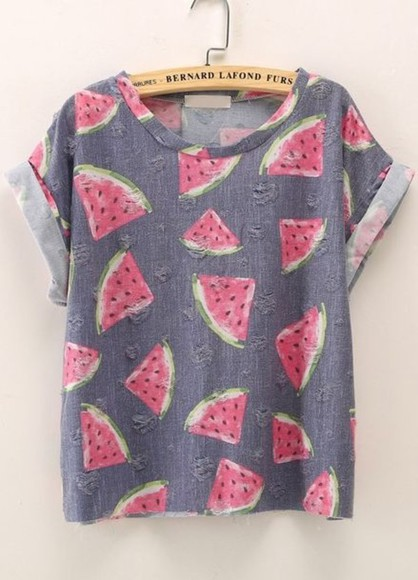 t-shirt print grey t-shirt watermelon shirt cuffed sleeves vintage sweet girly watermelon print grey sleeves watermelon print fullprint hipster