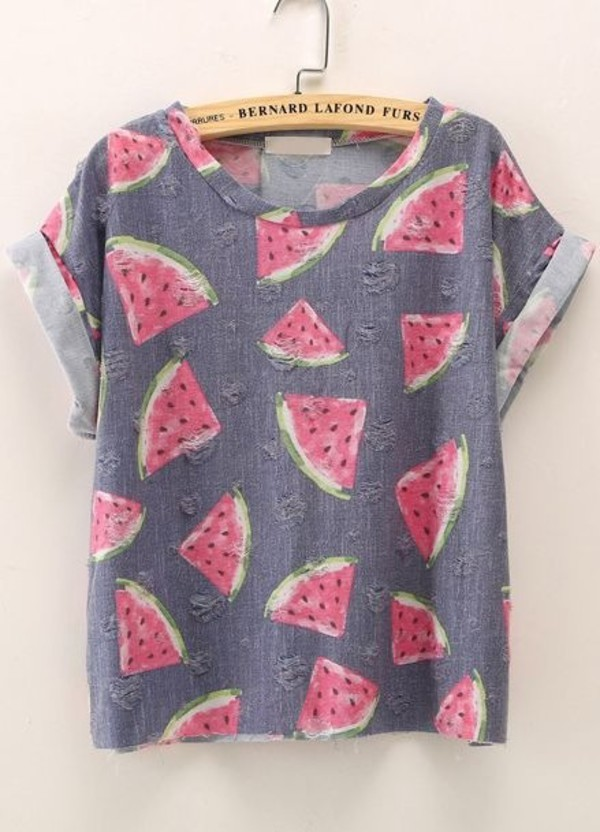t-shirt t-shirt t-shirt watermelon print print fullprint hipster grey watermelon shirt cuffed sleeves vintage sweet girly watermelon print shirt summer grey t-shirt style blouse