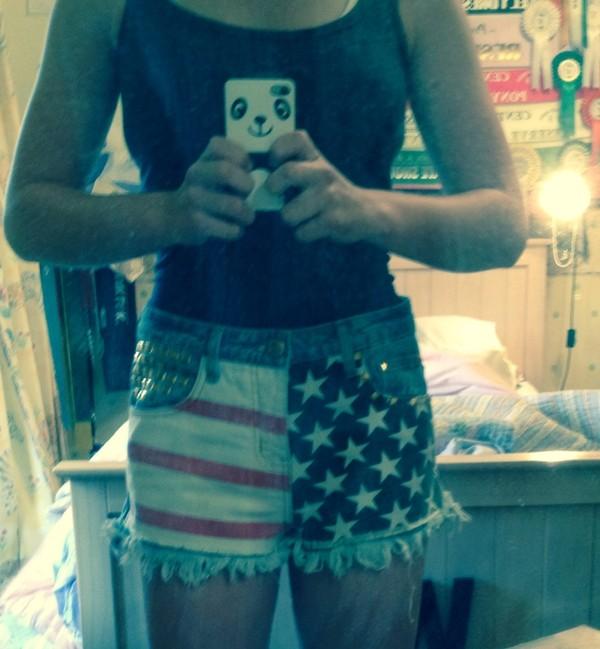 shorts shorts american flag studs