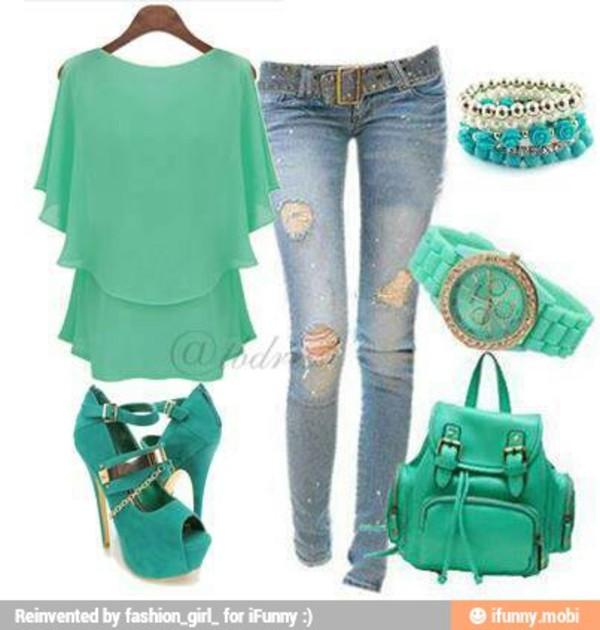 green top shirt