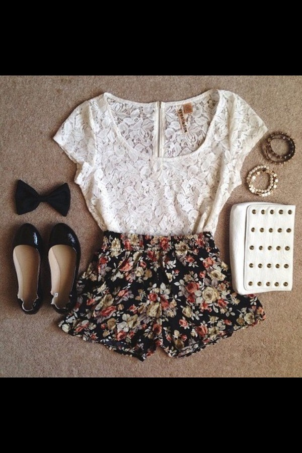 blouse white lace bag jewels shoes shorts