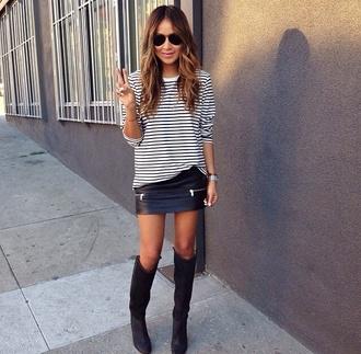 skirt black leather zip