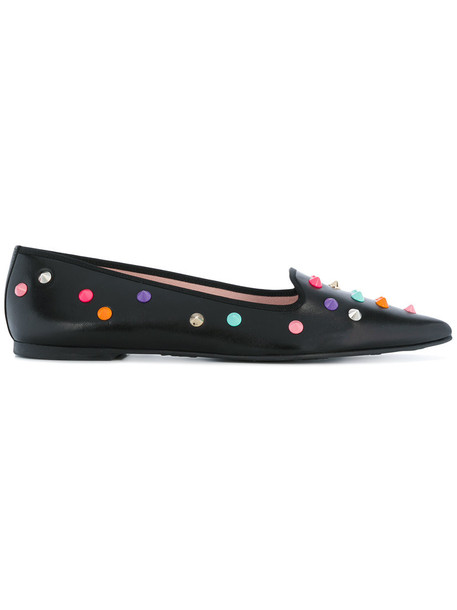 PRETTY BALLERINAS women leather cotton black shoes