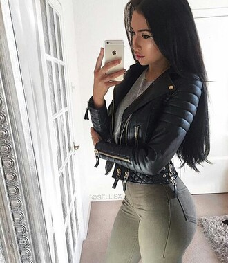 jacket black leather jacket jeans army green biker jacket black sexy hot girly leather jacket faux leather trendy tight short beautiful womens jackets