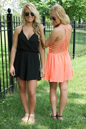 romper,twins,caged back,caged,cage,coral,black,coral romper,black romper,shoes