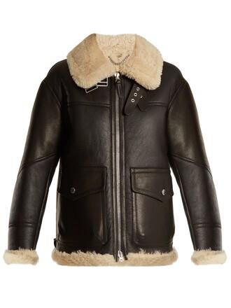 jacket shearling jacket oversized black