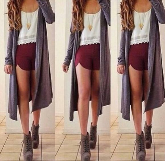 scarf top boots cardigan long modest grey maroon high heels
