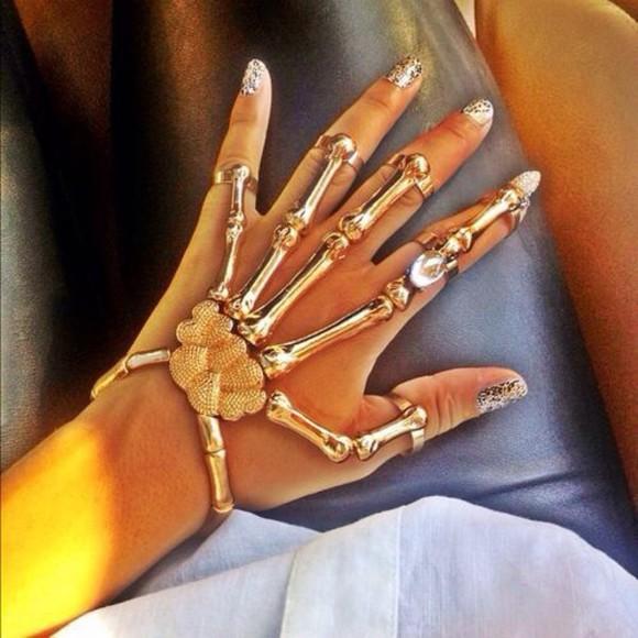 jewels bracelets gold ring hands bones