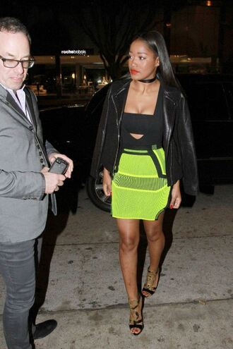 top bodysuit skirt keke palmer mini skirt sandals shoes