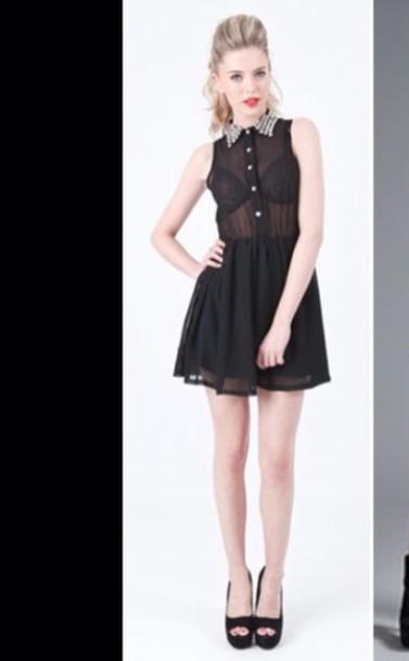 Dress Studded Collar Black Dress Black Black Sheer Dress Studs
