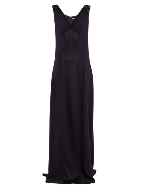Bottega Veneta gown embellished satin navy dress