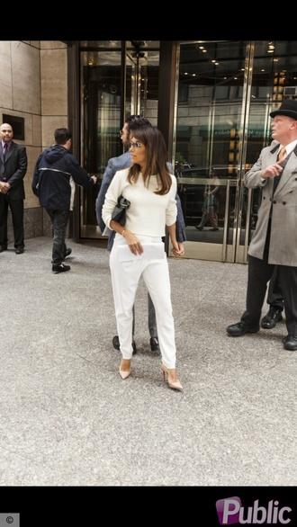 pants eva longoria white pants crop tops nude heels shoes