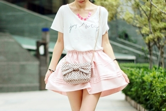 t-shirt white tucked in cursive baby pink ruffle bows polka dots skirt bag beige black
