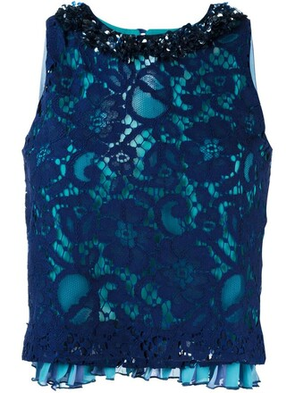 top lace top pleated back lace blue