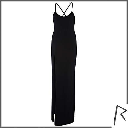 Black Rihanna Thigh Split Cami Maxi Dress Dresses Jumpsuits
