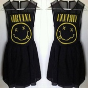 dress,nirvana,black,nirvana dress