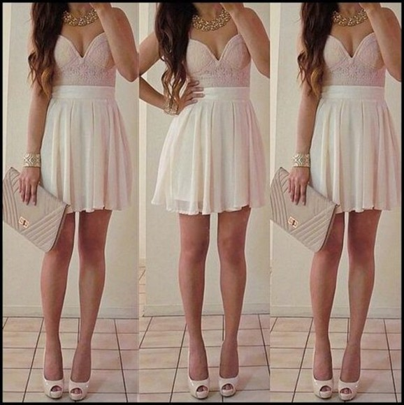 corset top dress white dress prom dress mini dress pink dress short prom dress beige dress