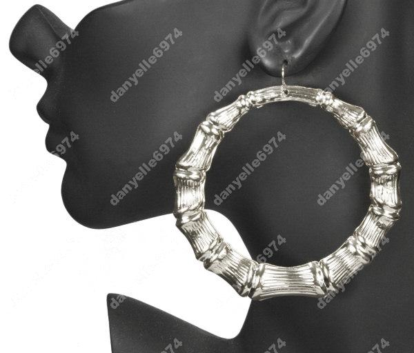 "3"" Huge Big Silver Hoops Bamboo Hoop Earrings Massive 